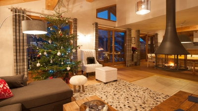 La Marquise chalet at Christmas