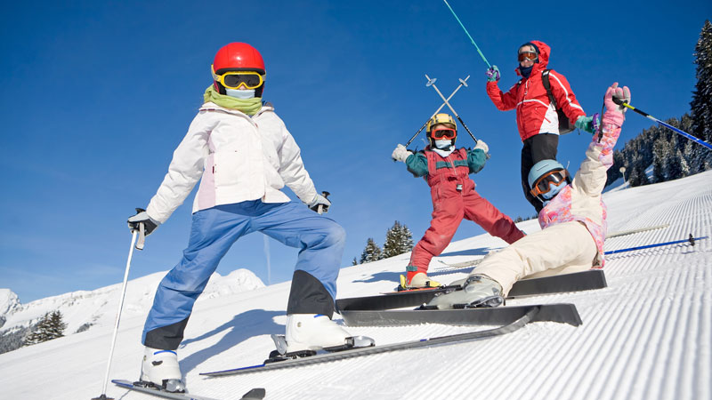 Family on Ski slopes