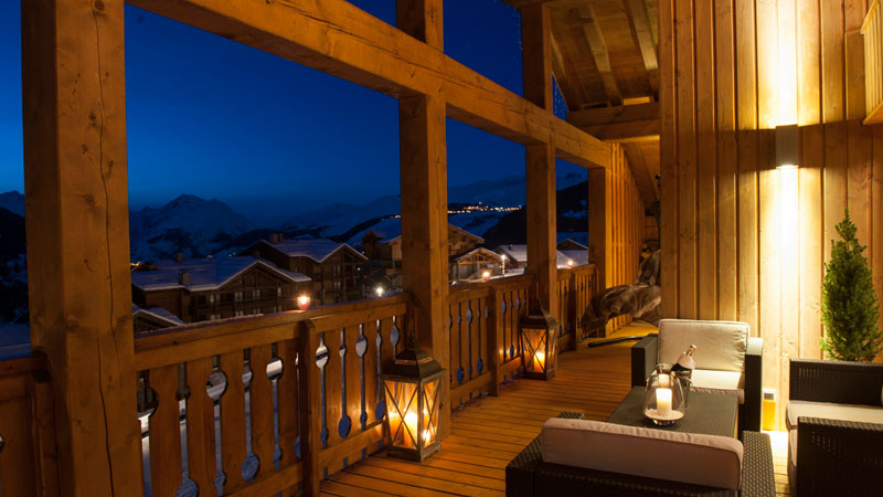 The Peak Luxury Chalet Balcony views in Sainte Foy