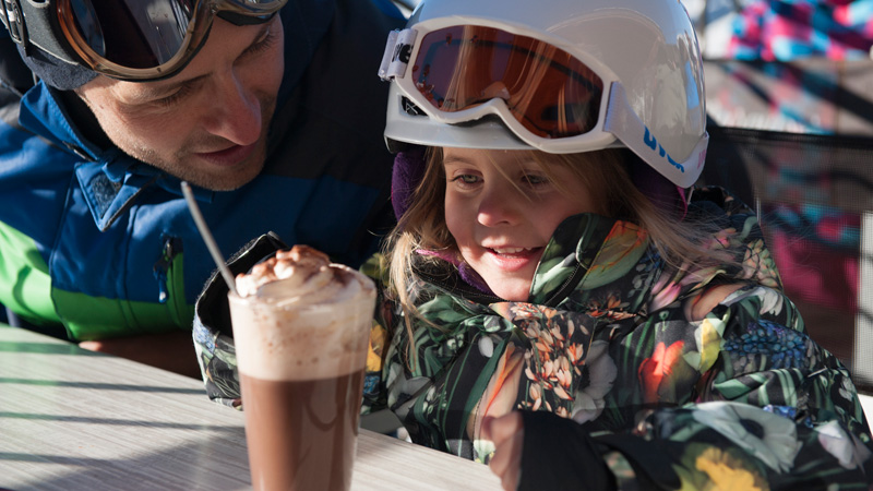 have a hot chocolate on the mountain